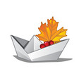 Paper boat with a fallen maple leaf symbols of vector image