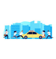 people need taxi one yellow car and many men vector image vector image