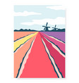 Poster with abstract hand drawn tulip fields and
