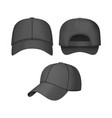 realistic 3d black baseball cap set vector image
