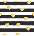 seamless pattern stripes gold foil hearts vector image