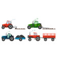 set if farm tractors cultivates land vector image