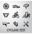 Set of Cycling freehand icons - wheel shoe vector image vector image