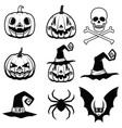 set of halloween icons halloween pumpkin bats vector image vector image