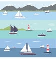 Ship traveling island landscape sailing vector image vector image