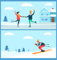 skating couple and skier set vector image vector image