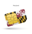 State of Maryland phone sim card with flag vector image vector image