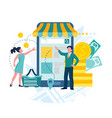 Store business online e-commerce concept man and