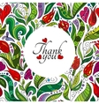 Thank you card design hand drawn cute flowers vector image