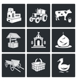 The village life Icons Set vector image vector image