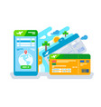 tickets for the plane on a smartphone vector image vector image