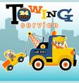 tow truck cartoon towing a little car vector image vector image