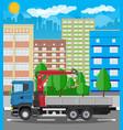truck with crane and platform cityscape vector image vector image