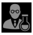 white halftone chemist icon vector image