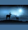 winter background with deer vector image
