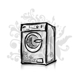 Washing machine sketch for your design vector image