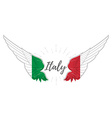 Wings with Italy flag colors on white background vector image