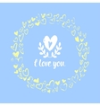 Valentines card with hand drawn hearts vector image