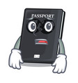 afraid black passport on the mascot table vector image vector image