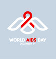 aids day concept with white bird with red ribbon vector image