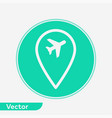 airport location pin icon sign symbol vector image vector image
