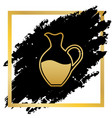amphora sign golden icon at black spot vector image