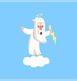 angry god character standing on fluffy white cloud vector image vector image