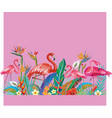 arrangement from flowers and flamingoes vector image vector image