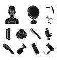 barbershop and equipment black icons in set vector image vector image