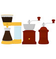big colored set different types wooden coffee mill vector image vector image