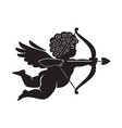 Black silhouette cupid aiming a bow and arrow