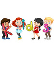 Boys and girls holding alphabets vector image