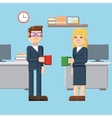 break male and female characters in the office vector image