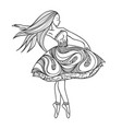 card dancing girl in a dress anti-paint for vector image