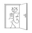 cartoon of devil businessman standing in door and vector image vector image