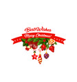 christmas holiday decorations on tree icon vector image vector image