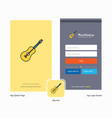 company guitar splash screen and login page vector image vector image
