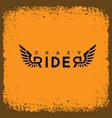 crazy rider label vector image vector image