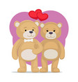 cute bear animals family male and female hold paws vector image vector image