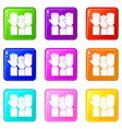 different people hands raised up set 9 vector image vector image