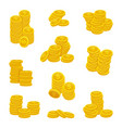 different stacks golden coins vector image
