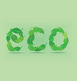 eco word made by green leaves vector image vector image