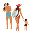 family spending holidays seaside or pool vector image vector image