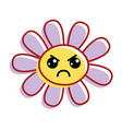 flower angry cheeks and close eyes vector image vector image