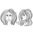 front and side view of woman face with beautiful vector image