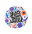 girls run world hand drawn black lettering vector image vector image