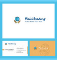 globe in hands logo design with tagline front vector image