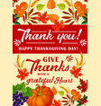 greeting card for happy thanksgiving day vector image vector image