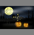halloween landscape with castle pumkins and vector image
