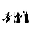 halloween silhouettes holiday elements on white vector image